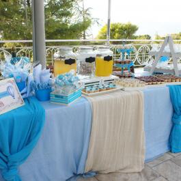 Candy Bar για Βάπτιση Αγοριού με Λεμονάδα & Πορτοκαλάδα, Cupcakes, Cake pops και Ατομικό Γλυκό Βάπτισης Σφηνάκι