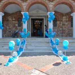 """Μπαλόνια για Βάπτιση """"Nautical Summer 3"""" με μπαλονοσυνθέσεις άγκυρες για στολισμό εκκλησίας με ναυτικό θέμα"""