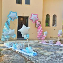"""Μπαλόνια για Βάπτιση """"Twin Shooting Stars""""με θέμα τα αστέρια για δίδυμα αγόρια κορίτσια"""