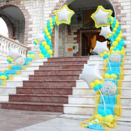 """Μπαλόνια για Βάπτιση """"Twin Shooting Stars""""με θέμα τα πεφταστέρια για στολισμό εκκλησίας"""