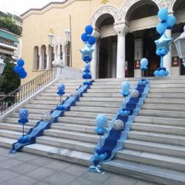 Στολισμός με Μπαλόνια Βάπτισης για δίδυμα αγόρια με θέμα τα αστέρια σε μπλε και γαλάζιο