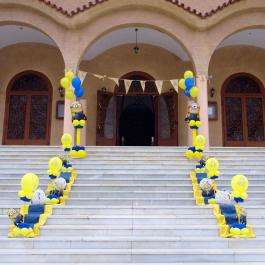 Μπαλόνια Βάπτισης Κολωνάκια με θέμα τα αγαπημένα Minions