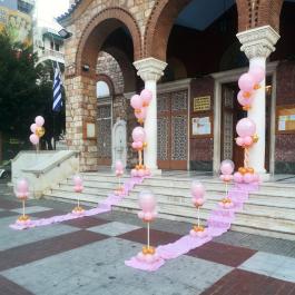 Μπαλόνια Βάπτισης για δίδυμα κορίτσια με ουδέτερο θέμα σε ροζ και χρυσό για στολισμό εκκλησίας