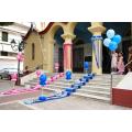 Στολισμός Βάπτισης με μπαλόνια για δίδυμα αγόρια κορίτσια για την εκκλησία σε μπλε σιελ και ροζ φούξια αποχρώσεις