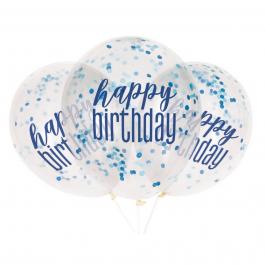"""Μπαλόνια κομφετί """"Happy Birthday"""" μπλε 30εκ. (6 τεμάχια) - Κωδικός: U56451 - Unique"""
