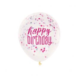 """Μπαλόνια κονφετί """"Happy Birthday"""" φούξια 30εκ. (6 τεμάχια) - Κωδικός: U56452 - Unique"""