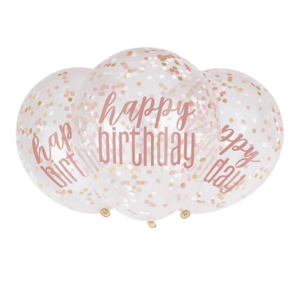 """Μπαλόνια κομφετί """"Happy Birthday"""" Rosegold 30εκ. (6 τεμάχια)"""