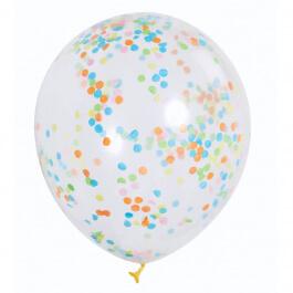 Μπαλόνια με πολύχρωμο κονφετί 30εκ. (6 τεμάχια) - Κωδικός: U49615 - Unique