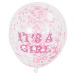 """Μπαλόνια κονφετί """"It's A Girl"""" 30εκ. (6 τεμάχια) - Κωδικός: U58110 - Unique"""