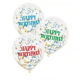 """Μπαλόνια κονφετί πολύχρωμα """"Happy Birthday"""" 30εκ. (6 τεμάχια) - Κωδικός: U58113 - Unique"""