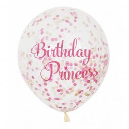 """Μπαλόνια κονφετί """"Birthday Princess"""" 30εκ. (6 τεμάχια) - Κωδικός: U58145 - Unique"""