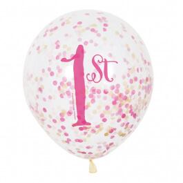 """Μπαλόνια κονφετί """"1st Birthday Girl"""" 30εκ. (6 τεμάχια) - Κωδικός: U58165 - Unique"""