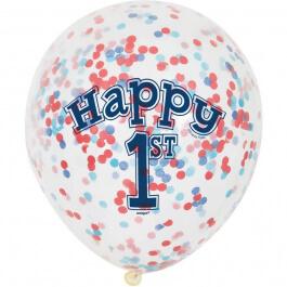 """Μπαλόνια κονφετί """"Happy 1st Birthday Boy"""" 30εκ. (6 τεμάχια) - Κωδικός: U58185 - Unique"""