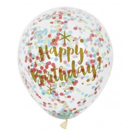"""Μπαλόνια κονφετί πολύχρωμο """"Happy Birthday"""" 30εκ. (6 τεμάχια) - Κωδικός: U58225 - Unique"""