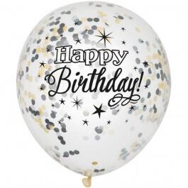 """Μπαλόνια κονφετί """"Happy Birthday"""" μαύρο 30εκ. (6 τεμάχια) - Κωδικός: U58285 - Unique"""
