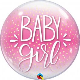 """Μπαλόνι Bubble """"Baby Girl Pink & Confetti Dots"""" 56εκ. - Κωδικός: 10035 - Qualatex"""