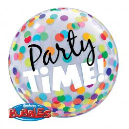 """Μπαλόνι Bubble """"Party Time"""" 56εκ. - Κωδικός: 23636 - Qualatex"""
