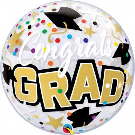 """Μπαλόνι Bubble """"Congrats Grad Stars & Dots"""" 56εκ. - Κωδικός: 82523 - Qualatex"""
