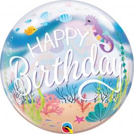 """Μπαλόνι Bubble """"Mermaid Birthday Party"""" 56εκ"""
