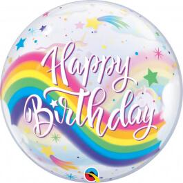 """Μπαλόνι Bubble """"Birthday Rainbow Unicorns"""" 56εκ."""