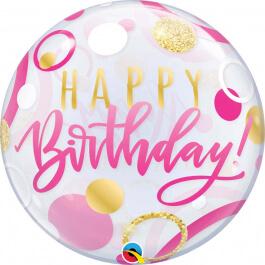 """Μπαλόνι Bubble """"Birthday Pink & Gold Dots"""" 56εκ."""