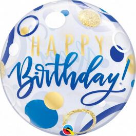 """Μπαλόνι Bubble """"Happy Birthday Blue & Gold Dots"""" 56εκ. - Κωδικός: 87748 - Qualatex"""