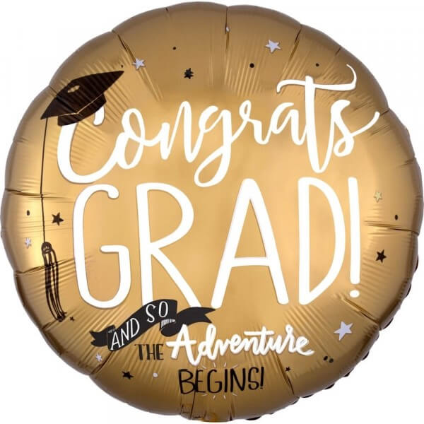 "Μπαλόνι Foil ""The Adventure Begins Congratulations Grad"" 43εκ. - Κωδικός: 37576 - Anagram"