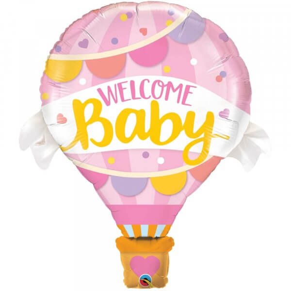 """Μπαλόνι Foil """"Welcome Baby Pink Balloon"""" 107εκ. - Κωδικός: 78656 - Qualatex"""
