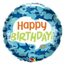 """Μπαλόνι Foil """"Birthday Shark"""" 46εκ."""
