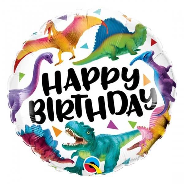 """Μπαλόνι Foil """"Happy Birthday Colorful Dinosaurs"""" 46εκ. - 97382"""