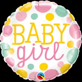 """Μπαλόνι Foil """"Baby Girl Dots"""" 46εκ. - Κωδικός: 55388 - Qualatex"""