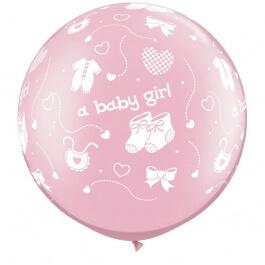 """Μπαλόνια Latex γίγας """"A Baby Girl Pink"""" 76εκ. (2 τεμάχια) - 81487"""