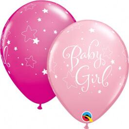 """Μπαλόνια Latex """"Baby Girl Stars"""" 28εκ. (6τεμάχια) - Κωδικός: 51814 - Qualatex"""