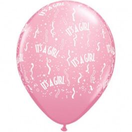 """Μπαλόνια Latex """"It' s a Girl"""" 28εκ. (6τεμάχια) - Κωδικός: 11731 - Qualatex"""