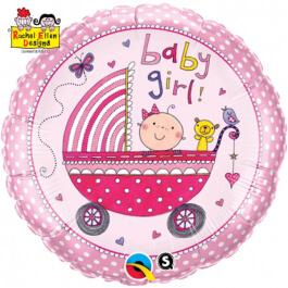 """Μπαλόνι Foil """"Baby Girl -Rachel Ellen"""" 46εκ. - Κωδικός: 50294 - Qualatex"""