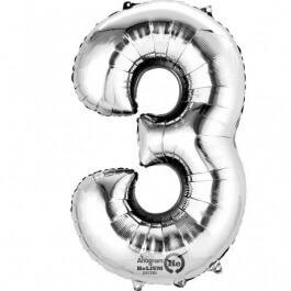 """Νούμερο """"3"""" μεγάλο - Anagram - ασημί - A2798301"""