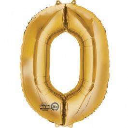 """Νούμερο """"0"""" μεγάλο - Anagram - χρυσό - A2824201"""