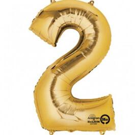 """Νούμερο """"2"""" μεγάλο - Anagram - χρυσό - A2824601"""