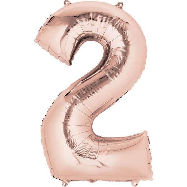 """Μπαλόνι αριθμός Νούμερο """"2"""" μεγάλο - Anagram - ροζ χρυσό"""