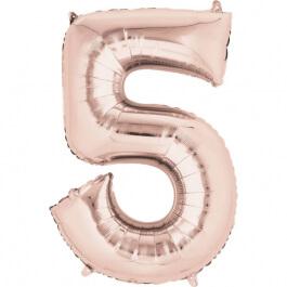 """Μπαλόνι αριθμός Νούμερο """"5"""" μεγάλο - Anagram - ροζ χρυσό - Κωδικός: A3621601 - Anagram"""