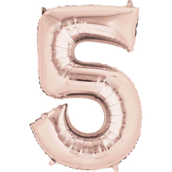 """Μπαλόνι αριθμός Νούμερο """"5"""" μεγάλο - Anagram - ροζ χρυσό"""