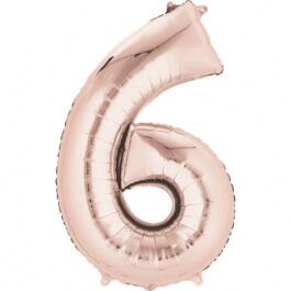 """Νούμερο """"6"""" μεγάλο - Anagram - ροζ χρυσό - A3621701"""