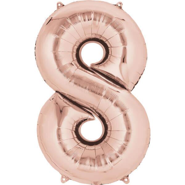 """Μπαλόνι αριθμός Νούμερο """"8"""" μεγάλο - Anagram - ροζ χρυσό"""