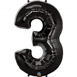 """Νούμερο """"3"""" μεγάλο - Qualatex - μαύρο - 36332"""