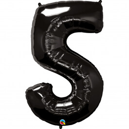"""Μπαλόνι αριθμός Νούμερο """"5"""" μεγάλο - Qualatex - μαύρο - Κωδικός: 36344 - Qualatex"""