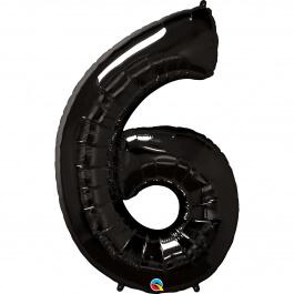 """Νούμερο """"6"""" μεγάλο - Qualatex - μαύρο - 36349"""