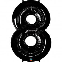 """Νούμερο """"8"""" μεγάλο - Qualatex - μαύρο - 36361"""