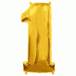 """Νούμερο """"1"""" μεγάλο - Flexmetal - χρυσό - 7917611"""