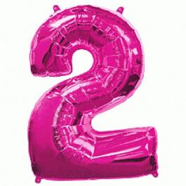 """Μπαλόνι αριθμός Νούμερο """"2"""" μεγάλο - Flexmetal - φούξια - Κωδικός: 7917623 - Flexmetal"""