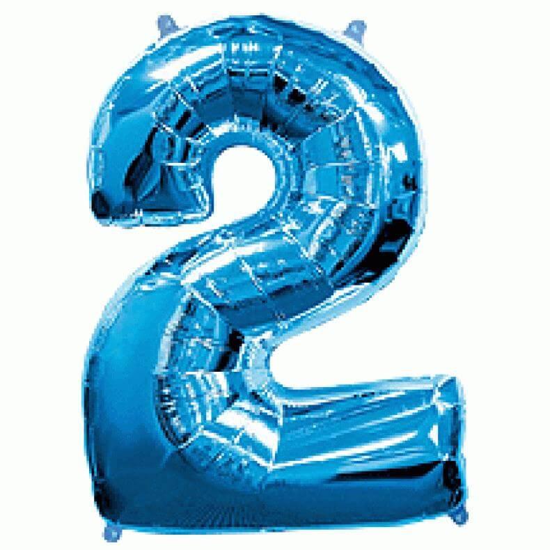 """Μπαλόνι αριθμός Νούμερο """"2"""" μεγάλο - Flexmetal - μπλε"""
